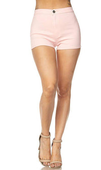 Solid High Waisted Shorts in Light Pink - SohoGirl.com