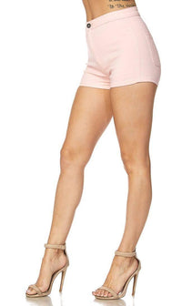 Solid High Waisted Shorts in Light Pink