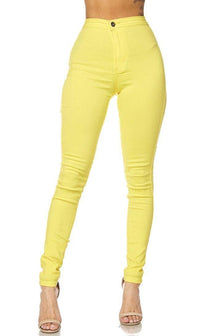 Super High Waisted Stretchy Skinny Jeans - Yellow - SohoGirl.com
