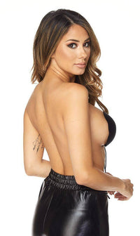 Black Backless Invisible Push-up Bra