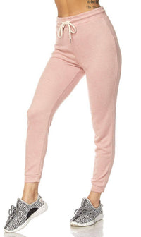Lightweight Drawstring Jogger Pants in Blush (Plus Sizes Available)