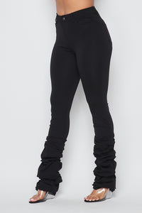 Scrunch Bottom Ponte Pants - Black
