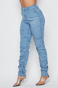 Super High Waisted Side Scrunch Denim Pants - Light Blue