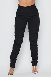 Super High Waisted Side Scrunch Denim Pants - Black - SohoGirl.com