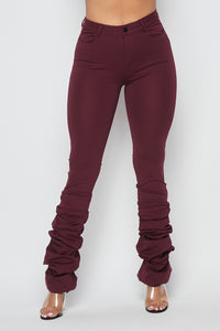 Scrunch Bottom Ponte Pants - Burgundy