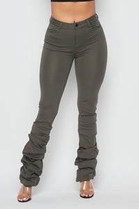 Scrunch Bottom Ponte Pants - Olive