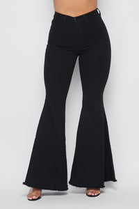 High Waisted Super Flare Bell Bottoms Jeans (1-3XL) - Black