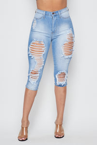 Ladder Distressed High Waisted Bermuda Shorts - Light