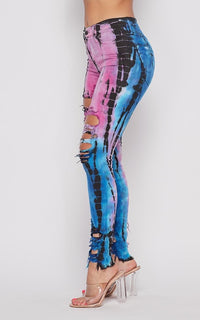Vibrant High Waist Distressed Jeans - Bamboo Tie-Dye