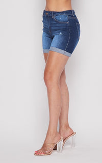 Midi High Waisted Denim Shorts - Medium Denim