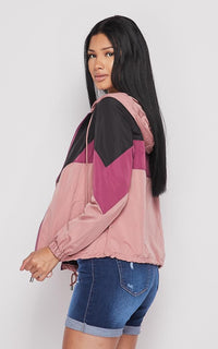 Colorblock Hooded Windbreaker - Mauve-Black