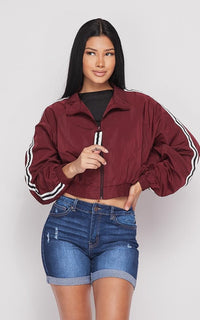 SOHO GLAM Side Striped Cropped Windbreaker Black
