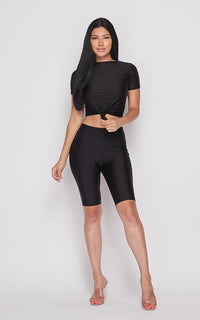 Nylon Front Tie Top and Bermuda Shorts - Black