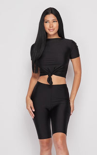 Nylon Front Tie Top and Bermuda Shorts - Black - SohoGirl.com