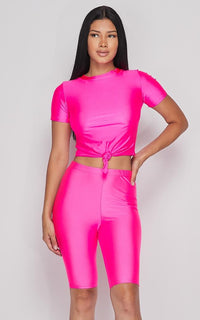 Nylon Front Tie Top and Bermuda Shorts - Hot Pink