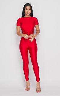 Nylon Front Tie Top and Leggings Set - Red