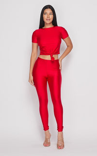 Nylon Front Tie Top and Leggings Set - Red - SohoGirl.com