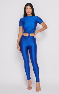 Nylon Front Tie Top and Leggings Set - Royal Blue - SohoGirl.com