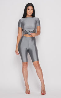 Nylon Front Tie Top and Bermuda Shorts - Dark Silver - SohoGirl.com