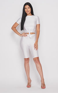 Nylon Front Tie Top and Bermuda Shorts - White