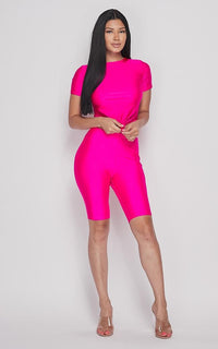 Nylon Front Tie Top and Bermuda Shorts - Magenta - SohoGirl.com