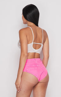 Vibrant High Waisted Denim Booty Shorts - Neon Pink