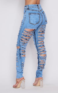 All Over Destroyed and Distressed Denim Jeans - Acid Wash Blue - SohoGirl.com