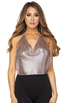 Rose Gold Sequin Draped Top
