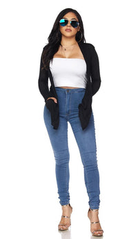 Black Sheer Lightweight Draped Cardigan (Plus Size Available)
