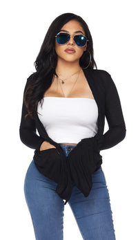 Black Sheer Lightweight Draped Cardigan (Plus Size Available) - SohoGirl.com