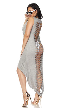 Gray Laser Cut High Low Cover Up