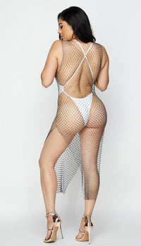 Rhinestone Fishnet Cover Up Dress - Black