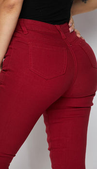 Burgundy Super High Waisted Knee Slit Skinny Jeans - SohoGirl.com