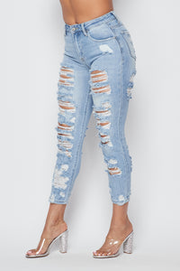 High Waisted Allover Distressed Skinny Jeans in Light Wash - SohoGirl.com