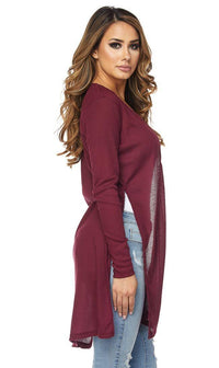 Long Ribbed Side Slit Cardigan in Burgundy (S-3XL)