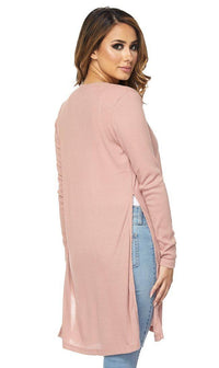 Long Ribbed Side Slit Cardigan in Blush (S-3XL)