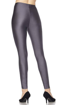 High Waisted Nylon Leggings - Charcoal - SohoGirl.com