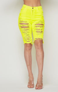 Vibrant Distressed Bermuda Shorts - Neon Yellow