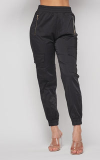 Satin Cargo Jogger Pants in Black