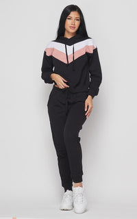 Chevron Stripe Pullover Hoodie Set - Black