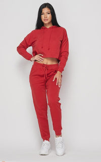 Everyday Pullover Cropped Hoodie Set - Rust