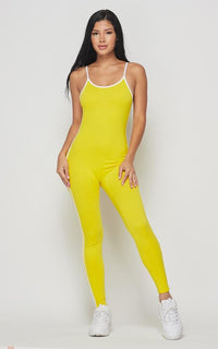 Side Stripe Camisole Unitard - Yellow - SohoGirl.com