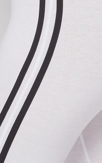 Side Stripe Camisole Unitard - White
