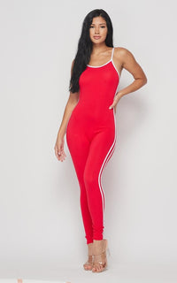 Side Stripe Camisole Unitard - Red