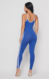 Side Stripe Camisole Unitard - Royal Blue