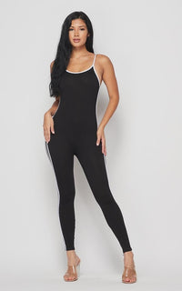 Side Stripe Camisole Unitard - Black - SohoGirl.com