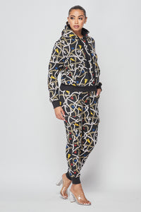 Chain Print Hoodie and Cargo Jogger Set - Black - SohoGirl.com