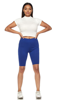 Classic Stretchy Bermuda Biker Shorts - Royal Blue - SohoGirl.com