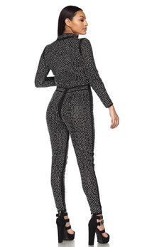 Black and Silver Shimmery Zip-Up Rhinestone Jumpsuit