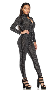Black and Silver Shimmery Zip-Up Rhinestone Jumpsuit - SohoGirl.com